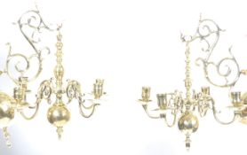 19TH CENTURY PAIR OF 17TH CENTURY DUTCH HANGING CHANDELIERS