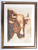 DAVID CHAMBERS - OIL ON BOARD PAINTING STUDY OF BOVINE