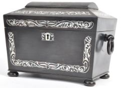 A 19TH CENTURY VICTORIAN EBONY AND MOTHER OF PEARL TEA CADDY