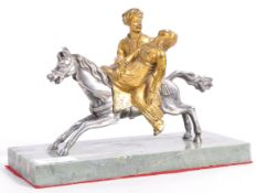 RARE 19TH CENTURY SILVER PLATED AND BRONZE FIGURINE