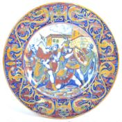 19TH CENTURY ITALIAN ANTIQUE HAND PAINTED MAIOLICA LUSTRE CHARGER