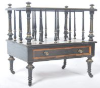 RARE 19TH CENTURY EBONY & AMBOYNA WOOD CANTERBURY