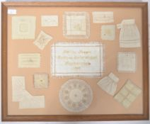 CHARMING 19TH CENTURY SAMPLER / SAMPLE COLLECTION IN CASE
