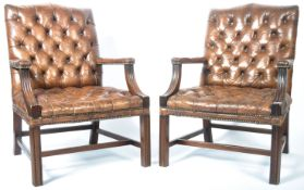PAIR OF ENGLISH ANTIQUE GAINSBOROUGH LEATHER ARMCHAIRS