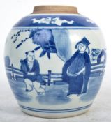 19TH CENTURY CHINESE ANTIQUE PORCELAIN BLUE AND WHITE JAR