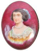 PORCELAIN PORTRAIT MINIATURE OF MARIE DE ROHAN (1600-1679)