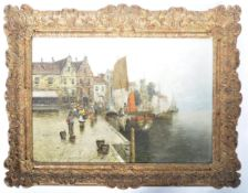 19TH CENTURY DUTCH OIL ON CANVAS COASTAL SCENE PAINTING