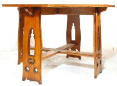 ANTIQUE STYLE GOTHIC REVIVAL LARGE OAK HEXAGONAL TABLE