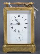 FANTASTIC FRENCH DENT OF PARIS GILDED ALARM CARRIAGE CLOCK