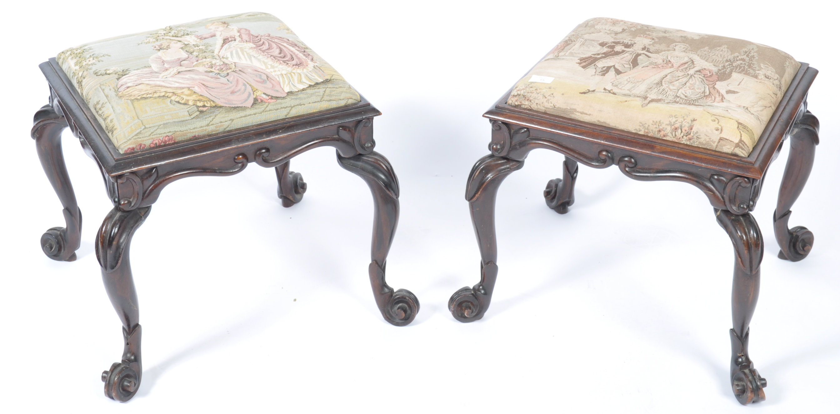 Lot 15 - PAIR OF MID 19TH CENTURY SIMULATED ROSEWOOD FOOT STOOLS