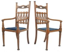 PAIR OF EARLY 20TH CENTURY OAK ARTS AND CRAFTS DINING CHAIRS