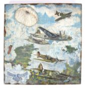WWII FOLK ART CARVED OIL PAINTING - RAF BOMBER STU