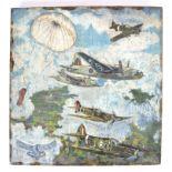 WWII FOLK ART CARVED OIL PAINTING - RAF BOMBER STU