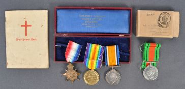 WWI FIRST WORLD WAR & WWII MEDAL GROUP - PRIVATE IN NOTTS & DERBY