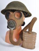 ORIGINAL WWII STEEL BRODIE COMBAT HELMET & GAS MASK