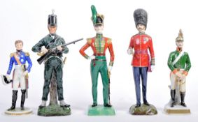 COLLECTION OF FIVE MEISSEN STYLE CERAMIC MILITARY FIGURES