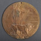 RARE WWI BRONZE DEATH PLAQUE DEDICATED TO A GEORGE KNOWLES