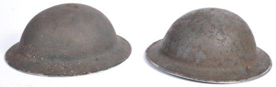 TWO ORIGINAL WWII SECOND WORLD WAR BRODIE HELMETS