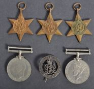 WWII SECOND WORLD WAR MEDAL GROUP & BADGE