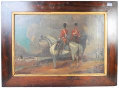 19TH CENTURY OIL ON CANVAS PAINTING OF A MILITARY CAVALRY CHARGE
