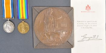 WWI FIRST WORLD WAR MEDAL GROUP AND DEATH PENNY W/PROVENANCE