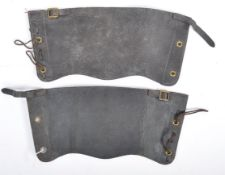 PAIR OF WWII CAVALRY LEATHER LEG GAITERS WITH MILITARY STAMPS