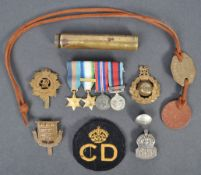 COLLECTION OF ASSORTED WWII MILITARY ITEMS - MEDALS ETC