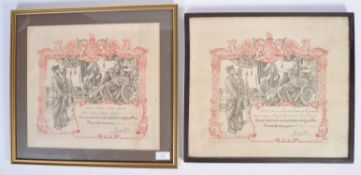 TWO WWI FIRST WORLD WAR FRAMED DISCHARGE CERTIFICATES