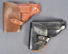 TWO VINTAGE LEATHER PISTOL HOLSTERS - LIKELY GERMAN