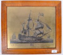 AFTER JOHN BOYDELL ENGRAVING ON METAL OF THE SHIP MONARQUE