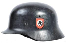 RARE ORIGINAL WWII GERMAN NAZI ' SS ' DOUBLE DECAL STAHLHELM