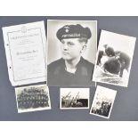 ORIGINAL WWII GERMAN KRIEGSMARINE EPHEMERA TO HEINRICH MULLER