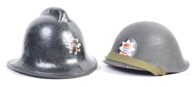 PAIR OF LONDON FIRE BRIGADE HELMETS - WITH BADGES