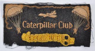 RARE RAF WWII CATERPILLAR CLUB UNIFORM PATCH / BAD