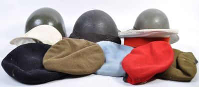 COLLECTION OF ASSORTED WWII & RELATED HELMETS / HA