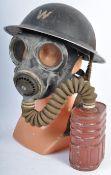 ORIGINAL WWII ARP AIR RAID PRECAUTIONS BRODIE HELMET & GAS MASK