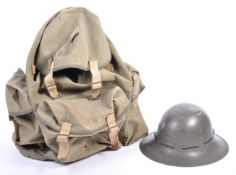 ORIGINAL WWII BRITISH ARMY BACK PACK AND CIVIL DEFENCE HELMET