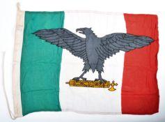 WWII ITALIAN MUSSOLINI UNIT LINEN FLAG DATED 1944