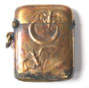 A vintage 20th Century brass vesta case decorated