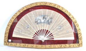 A 19TH CENTURY GEORGIAN PAINTED FAN CONSTRUCTED FR
