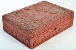 19TH CENTURY CHINESE RED & BLACK LACQUER WOODEN BO
