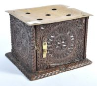 19TH CENTURY ANTIQUE HAND CARVED PLATE WARMER BOX