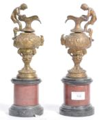 PAIR OF 19TH CENTURY BRONZE AND MARBLE URNS