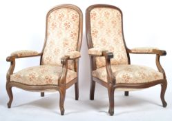PAIR OF 19TH CENTURY FRENCH HIS AND HERS ARMCHAIRS