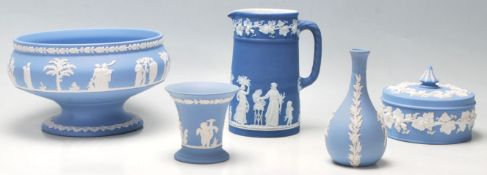 Wedgwood - A good collection of Wedgwood Jasperware consisting of a vase, fruit bowl, trinket pot,