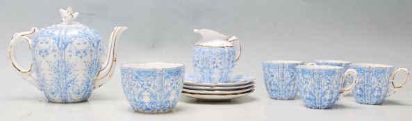 A 19th century Victorian Blue and white Aynsley Engle ceramic tea service for four comprising of