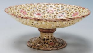 A Victorian 19th Century Hungarian - Zsolnay Pecs pierced porcelain pedestal stand of circular