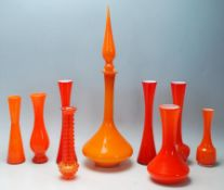 A mixed collection of retro vintage late 20th Century studio glass ware in burnt orange to include a