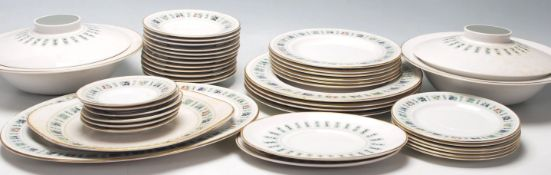 A large late 20th Century fine bone china dinner service by Royal Doulton in the Tapestry pattern