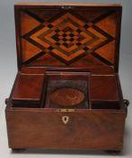 A 19th Century Victorian mahogany tea caddy of rec